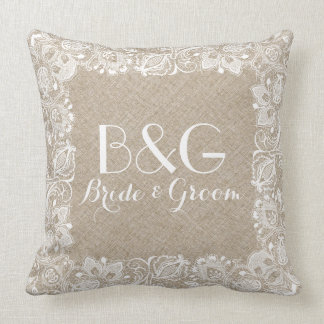 Monogramed Beige Linen And White Lace Frame Pillow