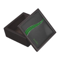 Monogramed Black And Green Leather Look Jewelry Box