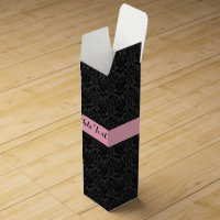Monogramed Black And Pink Floral Damasks Pattern Wine Gift Box