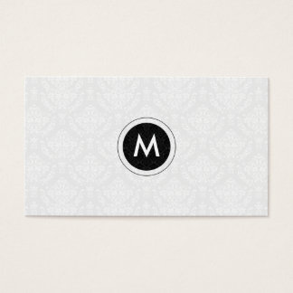 Monogramed Black And White Floral Damasks Business Card