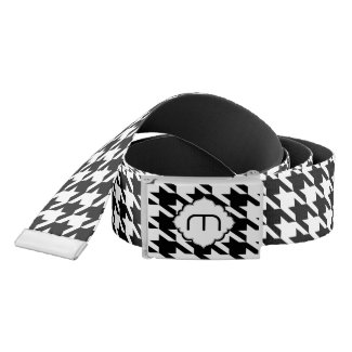 Monogramed Black And White Houndstooth