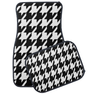 Monogramed Black And White Houndstooth Car Floor Mat