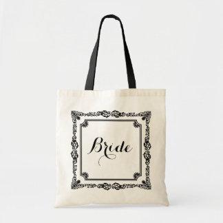 Monogramed Black And White Vintage Frame Tote Bag