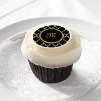 Monogramed Black & Faux Gold Glitter Pattern Edible Frosting Rounds