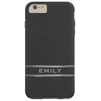 Monogramed Black Faux Leather Silver Accents Tough iPhone 6 Plus Case
