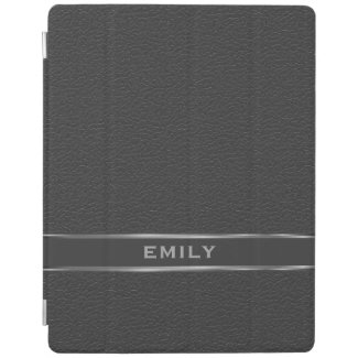 Monogramed Black Faux Leather Silver Accents iPad Cover