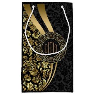 Monogramed Black & Gold Damasks Dynamic Stripes Small Gift Bag