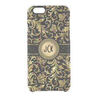 Monogramed Black & Gold Floral Damasks 5 Clear iPhone 6/6S Case