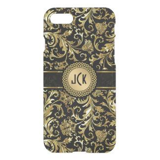 Monogramed Black & Gold Floral Damasks 5 iPhone 8/7 Case