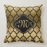 Monogramed Black & Gold Stripes & Quatrefoil Pillow