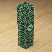 Monogramed Black & Green Floral Damasks Pattern Wine Gift Box