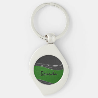 Monogramed Black & Green Leather, Silver Accents Keychain