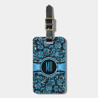 Monogramed Black & Metallic Blue Floral Damasks Luggage Tag