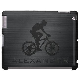 Monogramed Black Metallic Design With Bicyclist