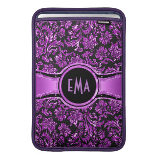 Monogramed Black & Metallic Purple Floral Damasks Sleeve For MacBook Air