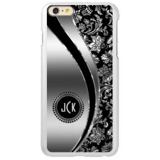 Monogramed Black & Metallic Silver Damasks Incipio Feather® Shine iPhone 6 Plus Case