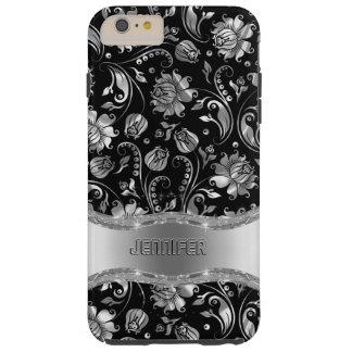 Monogramed Black & Metallic Silver Floral Damasks Tough iPhone 6 Plus Case