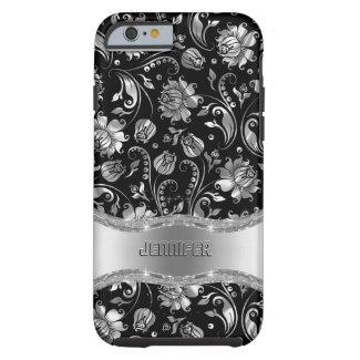 Monogramed Black & Metallic Silver Floral Damasks Tough iPhone 6 Case
