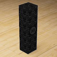Monogramed Black Monotones Floral Damasks Pattern Wine Box