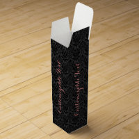 Monogramed Black Monotones Floral Damasks Pattern Wine Gift Box