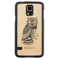 Monogramed Black Owl Line Drawing Carved Maple Galaxy S5 Slim Case