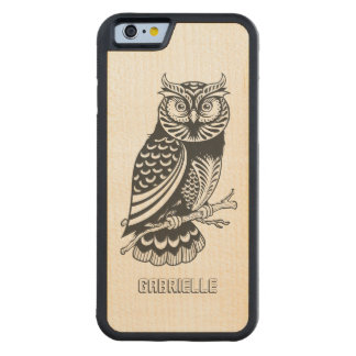 Monogramed Black Owl Line Drawing Carved Maple iPhone 6 Bumper Case