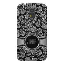 Monogramed Black & Silve Metallic Floral Damasks 2 Galaxy S5 Case