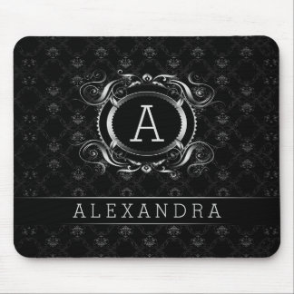 Monogramed Black & Silver Gray Baroque Frame Mouse Pad