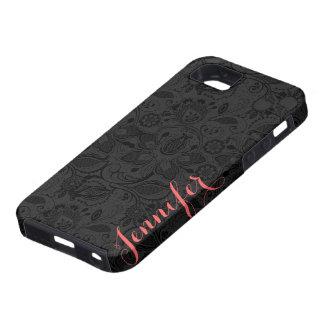 Monogramed Black Vintage Floral Girly Lace iPhone 5 Case