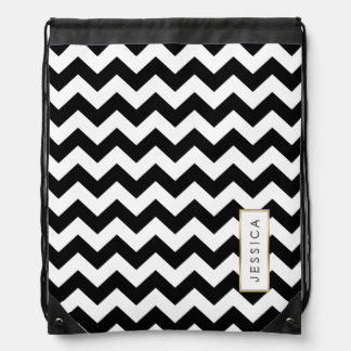 Monogramed Black & White Chevron Pattern Drawstring Bag