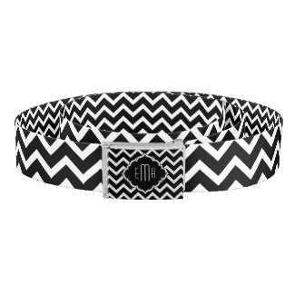Monogramed Black & White Geometric Zigzag Chevron