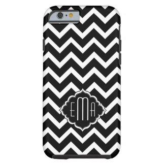 Monogramed Black & White Geometric Zigzag Chevron Tough iPhone 6 Case