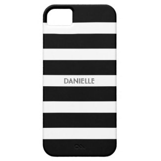Monogramed Black & White Stripes Pattern iPhone 5 Case