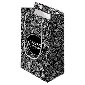 Monogramed Black & White Vintage Paisley Pattern 2 Small Gift Bag