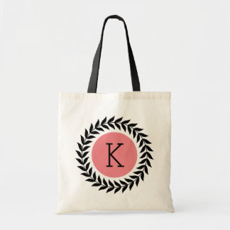 Monogramed Black Wreath Pink Accents Tote Bag