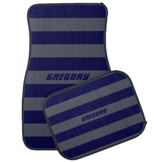 Monogramed Blue And Gray Stripes Car Floor Mat