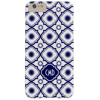Monogramed Blue And White Quatrefoil Pattern Barely There iPhone 6 Plus Case