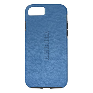 Monogramed Blue Faux Leather look iPhone 8/7 Case