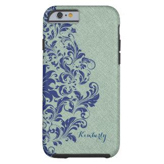 Monogramed Blue Floral Lace Sage-Green Linen Tough iPhone 6 Case