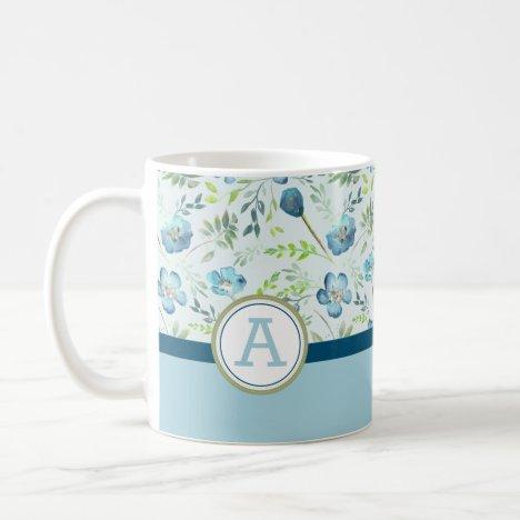 Monogramed Blue Green Watercolor Flower Pattern Coffee Mug