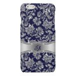 Monogramed Blue & Metallic Silver Floral Damasks Glossy iPhone 6 Case