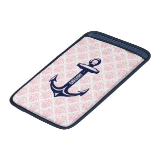 Monogramed Blue Nautical Anchor & Pink Damasks MacBook Air Sleeve