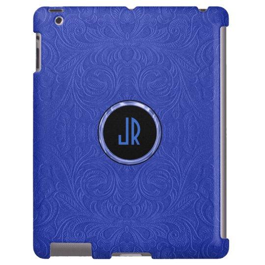 Monogramed Blue Suede Leather Floral Design