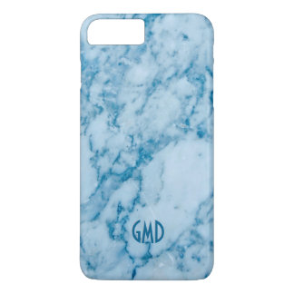 Monogramed Blue Tint Marble Stone Pattern iPhone 7 Plus Case