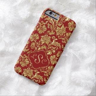 Monogramed Borgoña y damascos florales del oro Funda De iPhone 6 Barely There