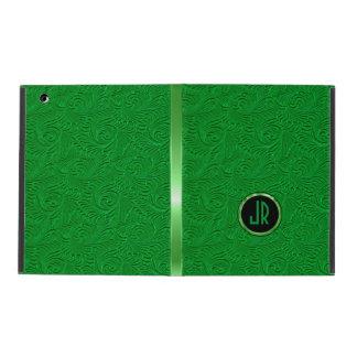 Monogramed Bright Green Embossed Floral Damasks iPad Folio Case