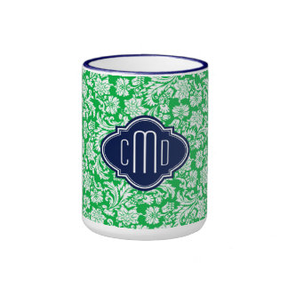 Monogramed Bright Green & White Floral Damasks 3 Ringer Mug