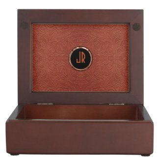 Monogramed Brown Suede Leather Floral Design Keepsake Box