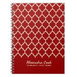 Monogramed Burgundy Red & Cream Quatrefoil Pattern Spiral Notebooks