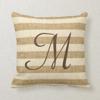 Monogramed Burlap Stripes Pillow